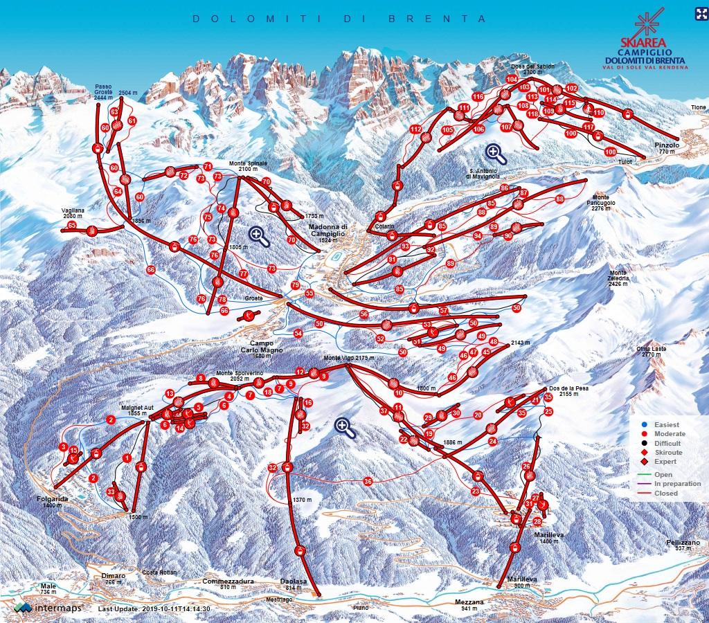 SkiArea Runs Map Ski Area Pinzolo Doss del Sabion Madonna di